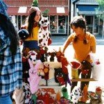 Judy Folkmanis selling puppets on Telegraph Avenue in Berkeley, CA